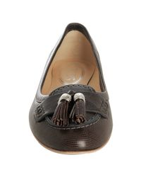 Tod's - Brown Snake Print Leather Tassel Flats - Lyst