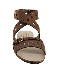 Tod's | Brown Flat Forature Sandal | Lyst