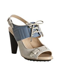 Tod's | Sky Blue and Grey Suede Lace-up Detail Sandals | Lyst