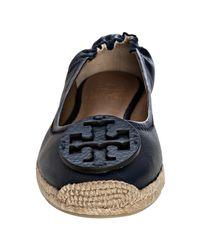 Tory Burch - Blue Navy Leather Joy Espadrille Flats - Lyst