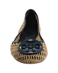 Tory Burch - Blue Navy Trim Coconut Crocheted Rory Ballet Flats - Lyst