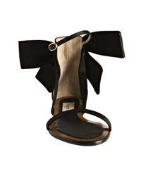 Valentino | Black Satin Bow Detail Flat Sandals | Lyst
