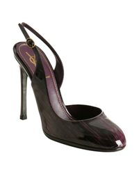 Saint Laurent | Purple Patent Leather Nicole Slingbacks | Lyst