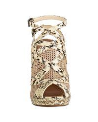 Alaïa - Natural Soya Snakeskin and Netted Ankle Wrap Platform Sandals - Lyst