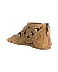 Alaïa - Brown Natural Cutout Swirl Leather Flat Sandals - Lyst