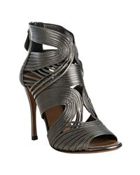 Alaïa - Metallic Silver Strappy Leather Peep Toe Sandals - Lyst