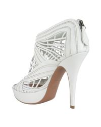 Alaïa - White Strappy Leather Peep Toe Booties - Lyst