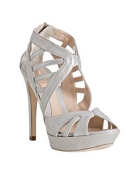Fendi | Metallic Silver Leather Cut-out Platform Sandals | Lyst
