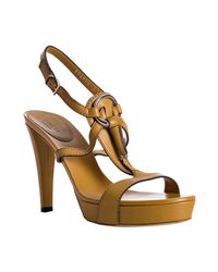 Gucci | Yellow Leather Icon Bit T-strap Platform Sandals | Lyst