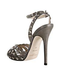 Jimmy Choo - Gray Grey Metallic Suede Jigsaw Sandals - Lyst