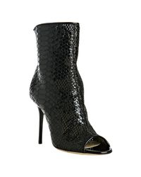 Jimmy Choo - Black Embossed Leather and Lace Follow Booties - Lyst