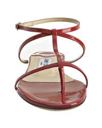 Jimmy Choo | Red Patent Leather Fiona Flat Thong Sandals | Lyst