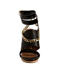 Lanvin - Black Stitched Leather Chain Detail Wrap Platform Sandals - Lyst