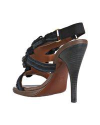 Lanvin - Blue Navy Silk Tissue Cord Crystal Detail Sandals - Lyst