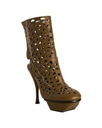 Marni | Brown Perforated Leather Platform Ankle Boots | Lyst