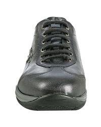 Prada - Gray Sport Grey Metallic Leather Saffiano Trim Sneakers - Lyst