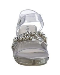 Prada | Gray Natural Satin and Pvc Crystal Lucite Sandals | Lyst