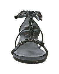 Stuart Weitzman - Black Leather Lopez Chain Detail Sandals - Lyst