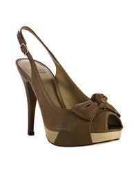 Stuart Weitzman | Brown Walnut Leather Friller Bow Peep Toe Slingback Heels | Lyst