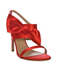 Valentino | Red Satin Bow Detail Sandals | Lyst