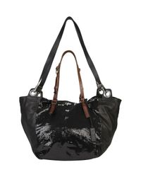 Pauric Sweeney Black Sequin Panel Leather Tote