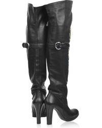 Thomas Wylde - Black Snake-embellished Leather Boots - Lyst