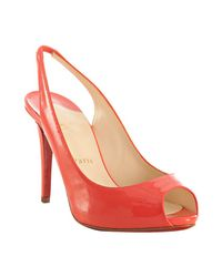 Christian Louboutin | Pink Coral Patent Lady Sling 100 Peep Toe Slingbacks | Lyst