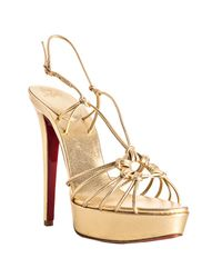 Christian Louboutin | Metallic Gold Nappa Disco Lilou 140 Platform Sandals | Lyst