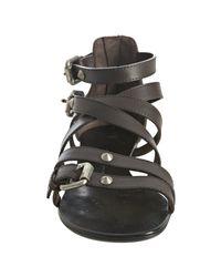 Giuseppe Zanotti - Brown Leather Crisscross Flat Sandals - Lyst