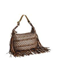 Marc Jacobs | Brown Taupe Leather Lattice Woven Fringe Hobo | Lyst