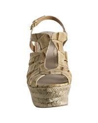 Miu Miu - Natural Dark Beige St Coco Platform Wedge Sandals - Lyst