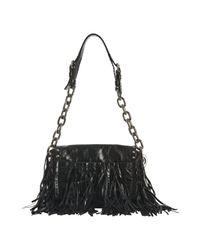 Prada | Black Calfskin Fringe Small Shoulder Bag | Lyst
