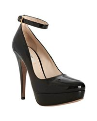 Prada | Black Patent Leather Ankle Strap Pumps | Lyst
