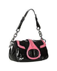 Prada | Black and Ivory Patent Leather Turnlock Shoulder Bag | Lyst