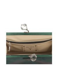Prada | Green Spazzolato Distressed Leather Crystal Kisslock Clutch | Lyst
