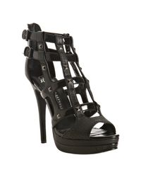 Rock & Republic | Black Patent Syler Studded Cage Sandals | Lyst
