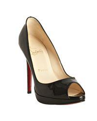 Christian Louboutin | Black Patent Yolanda 120 Peep Toe Pumps | Lyst