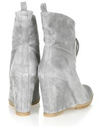 Minimarket - Gray Suede Lace-up Wedge Boots - Lyst