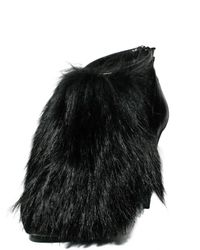 Aperlai - Black 120mm Nappa Suede Fox Fur Ankle Boots - Lyst