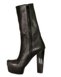 CoSTUME NATIONAL - Black 140mm Square Toe Leather Boots - Lyst