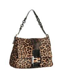 Fendi | Brown Big Mama Jaguar Print Pony Skin Bag | Lyst