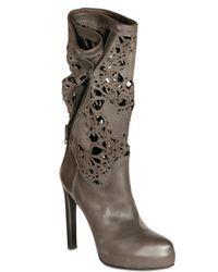 Haider Ackermann - Gray Laser Cut Leather Boots - Lyst