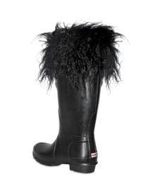 HUNTER - Black Fur Trim Rubber Boots - Lyst