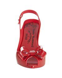 Melissa | Red Jelly Peep Toe Bow Slingbacks | Lyst