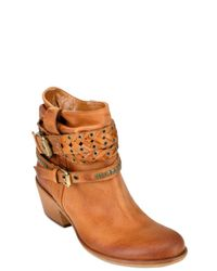 Strategia - Orange Washed Leather Belt Low Boots - Lyst