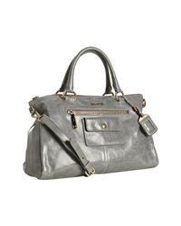 Prada | Cloud Blue Vitello Shine Leather Zip Detail Tote | Lyst
