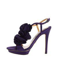 Badgley Mischka - Purple Randee High Heel Ruffle Flower Sandals - Lyst
