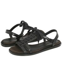 Burberry - Brown Vintage Check Flat Lace Up Sandal - Lyst