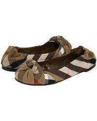 Burberry Brown Check Knotted Ballet Flats