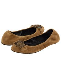 Burberry | Brown Suede Leather Ballerina | Lyst